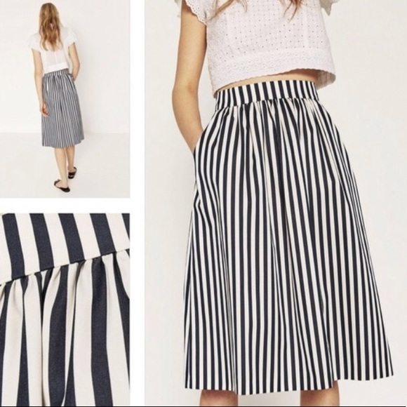 ef2bdd2449e587 Zara Skirts | Pleated Vertical Striped Midi Skirt | Poshmark